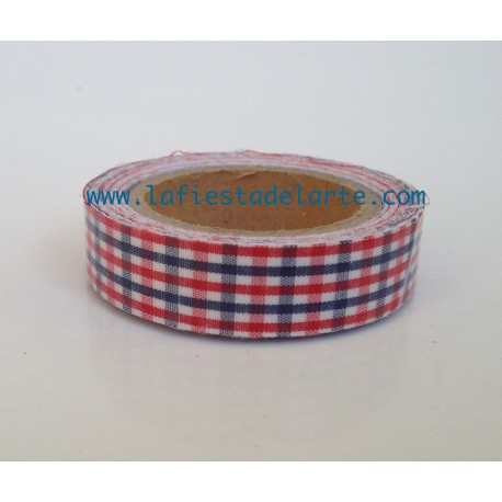 Cinta de tela adhesiva fabric tape cuadros azul y rojo for Cinta de tela adhesiva