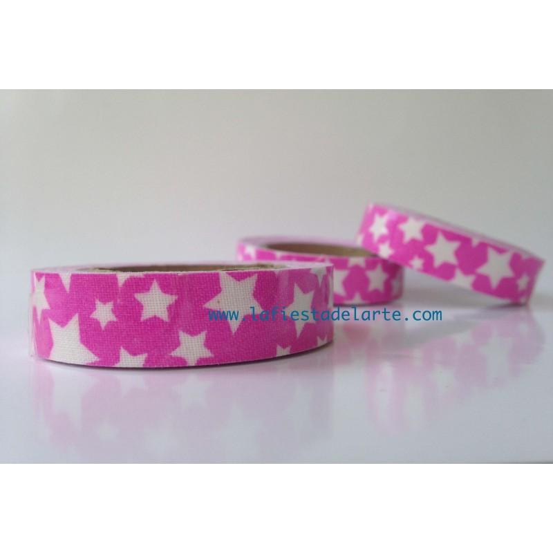 Cinta de tela adhesiva fabric tape rosa estrellas lfda for Cinta de tela adhesiva