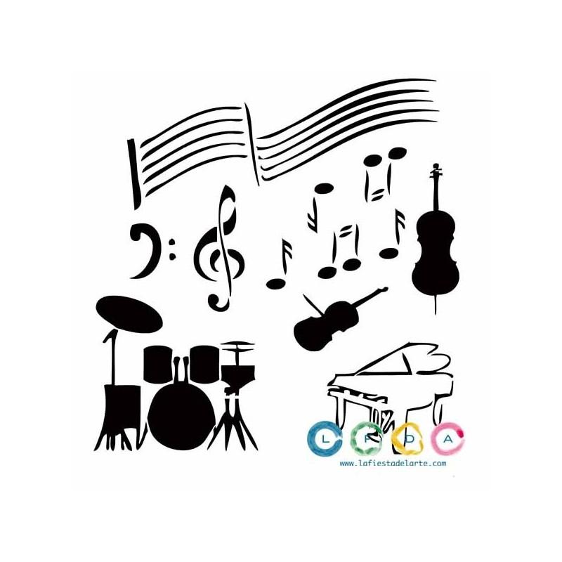 Plantilla Stencil Instrumentos Y Notas Musicales Lfda La Fiesta